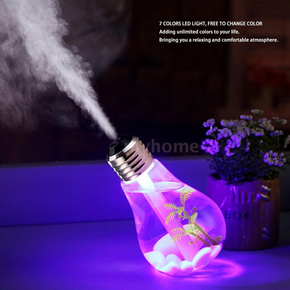 Humidifiers & Air Purifiers - 400ml Colorful Landscape LED Night Light Bulb USB MINI Humidifier Micro Spray Hydrating Household - GOLD