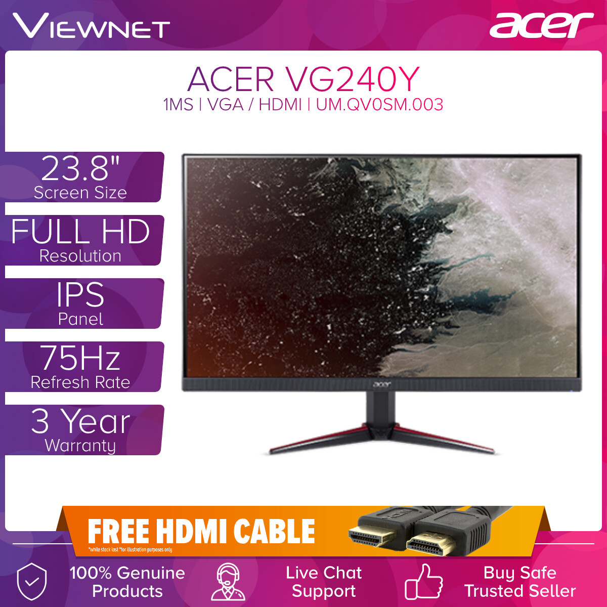 ACER NITRO VG240Y 23.8 IPS 75HZ 1MS FHD AMD FREESYNC GAMING MONITOR WITH VGA HDMIx2 AUDIO IN/OUT