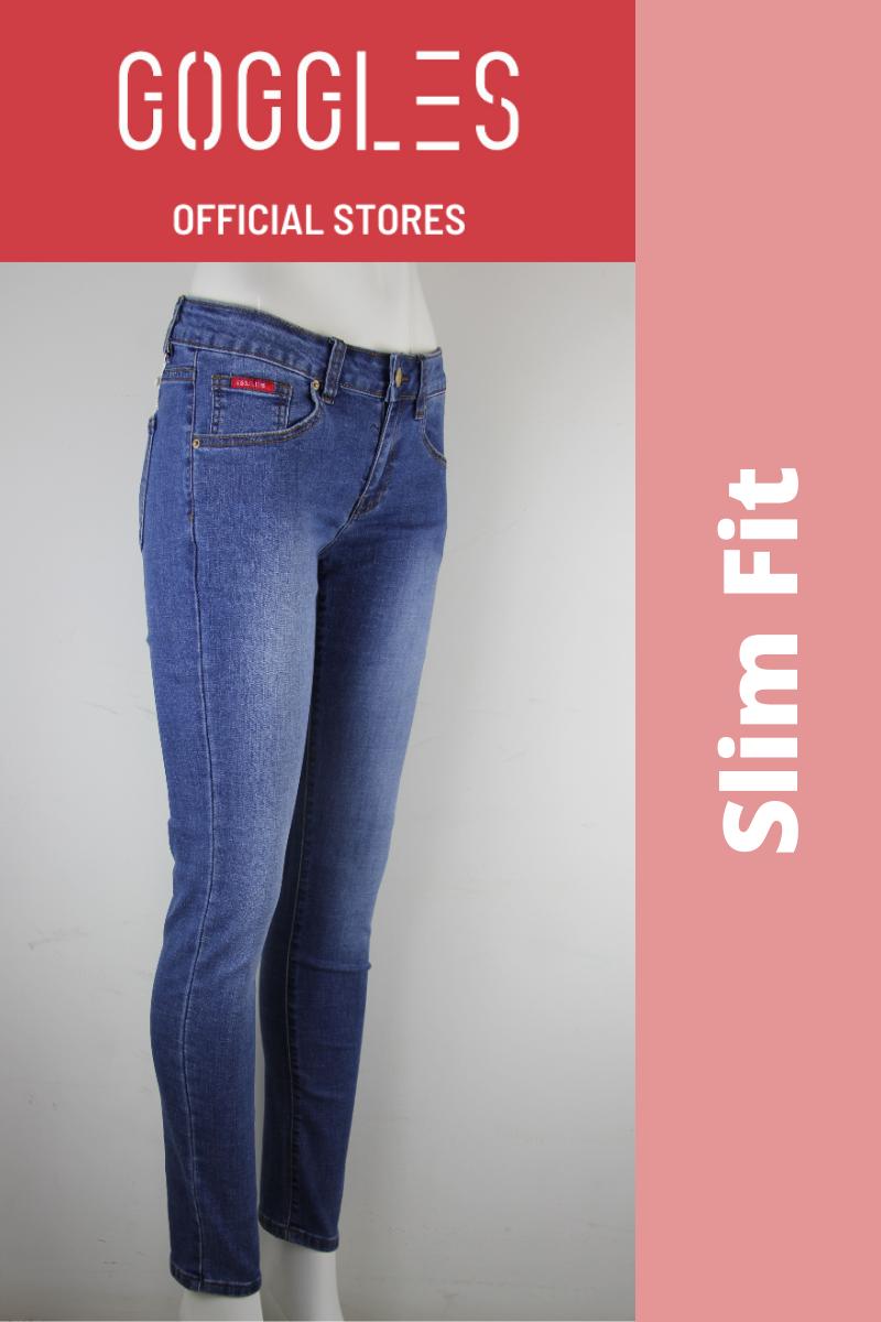 GOGGLES Ladies Denim Jeans Slim Fit Medium Blue 100359
