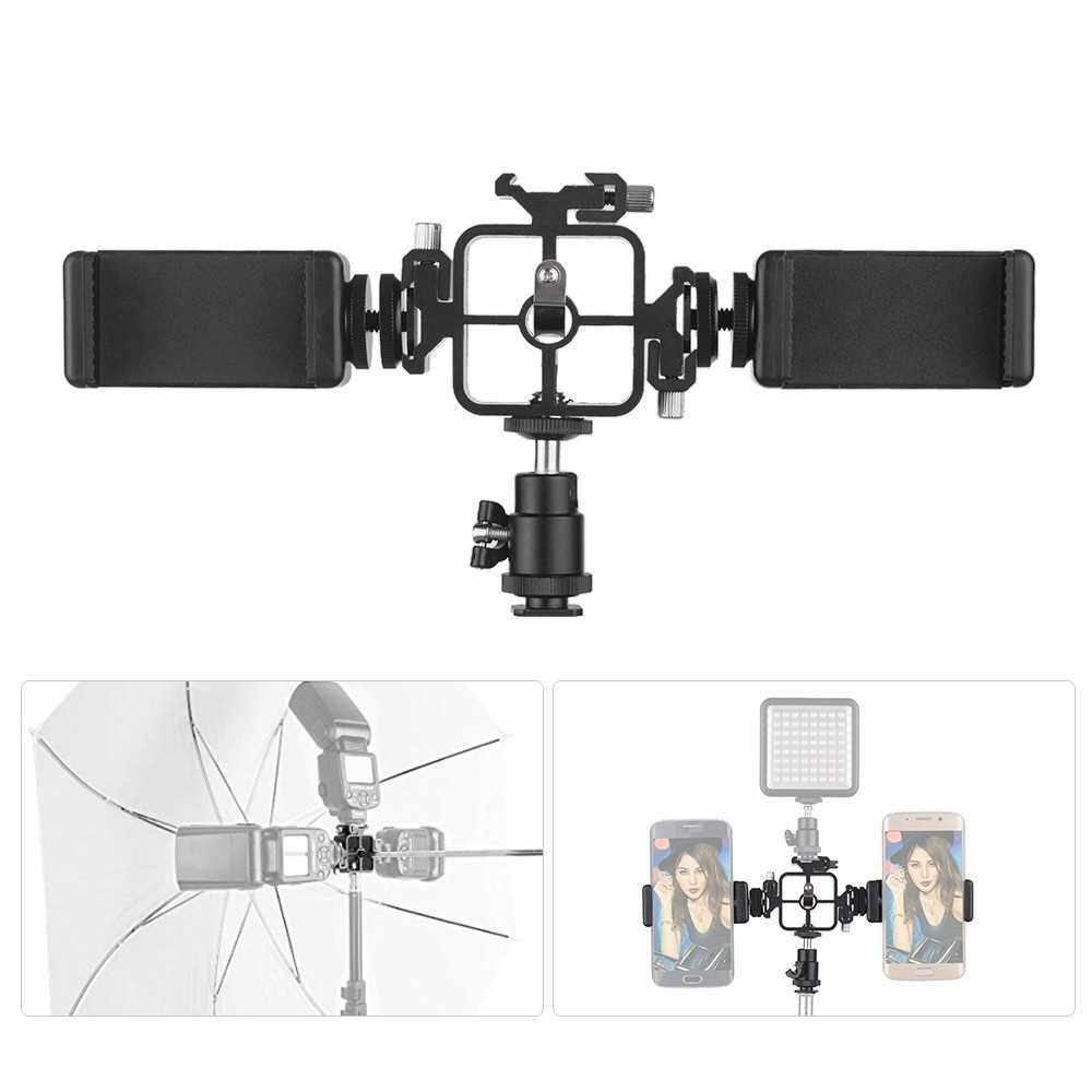 Triple Cold Shoe Mount Flash Speedlite Bracket Photography Umbrella Holder with Ballhead Adapter Phone Holders for Smartphone Flash LED Video Light Monitor Microphone (Color1)