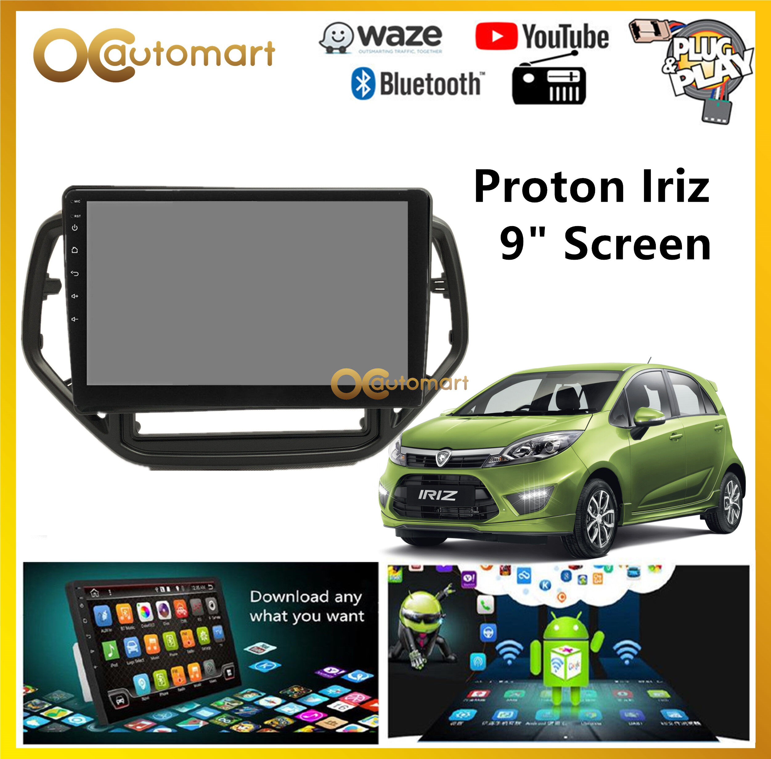 Proton Iriz Big Screen 9  Plug and Play OEM Android Player Car Stereo With WIFI Video Player/TouchScreen