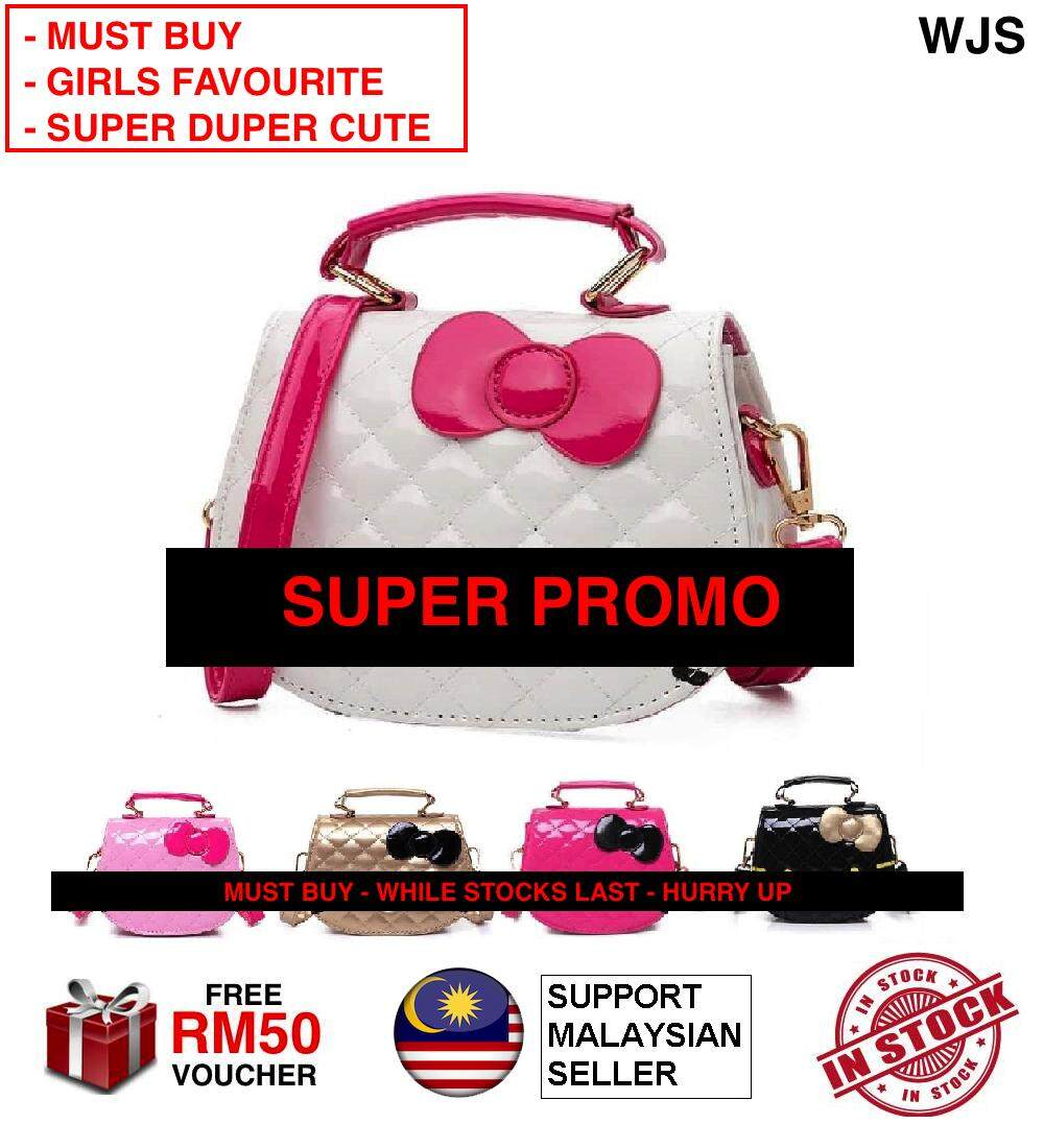 (SUPER DUPER CUTE) WJS Women Kawaii Cute Mini H Kitty Handbag Pretty Bow PU Handbag Hand Bag Kid Girls Bag Sling Bag Shoulder Bag BLACK PINK BEIGE BROWN WHITE PINK [FREE RM 50 VOUCHER]