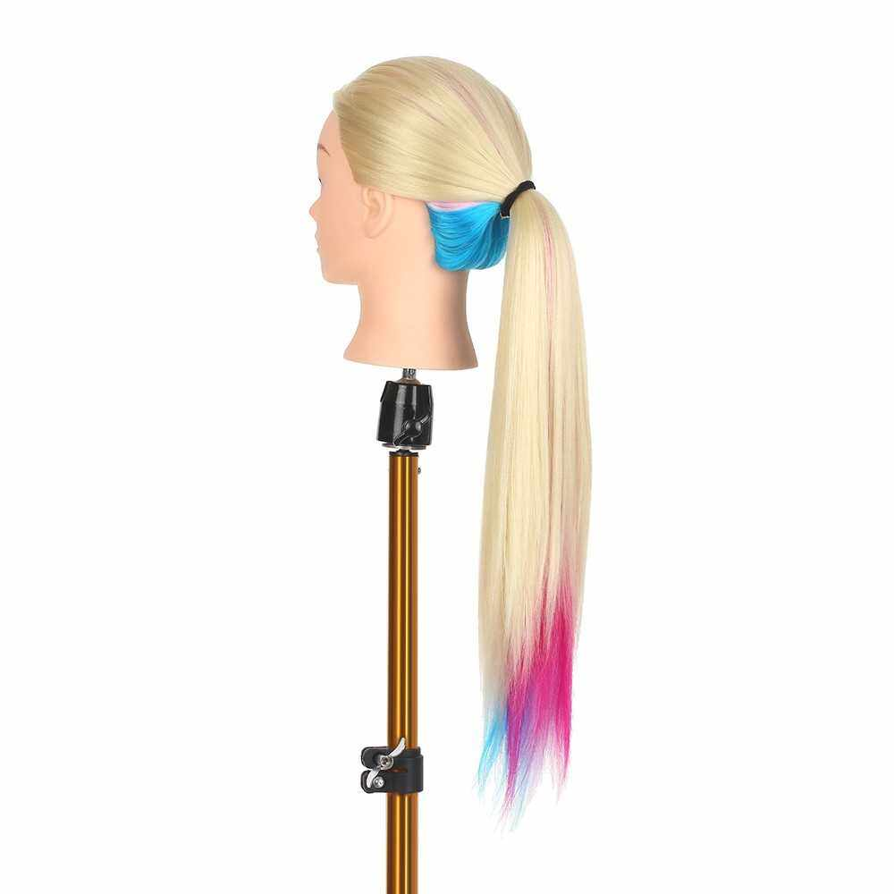 Mannequin Head with Table Clamp Stand Dummy Head for Braiding Practicing Styling Training Manikin Head Hairdresser Cosmetology Doll Head (Purple)