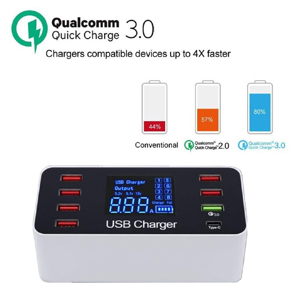 Chargers - Intelligent 8-Port USB Adapter Phone Charging LCD Display QC3.0 Fast Charger - UK / AU