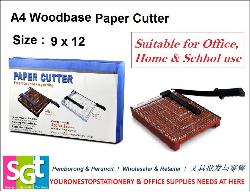 Wood Base A4 Size Paper Cutter 12 Sheets (828-4)