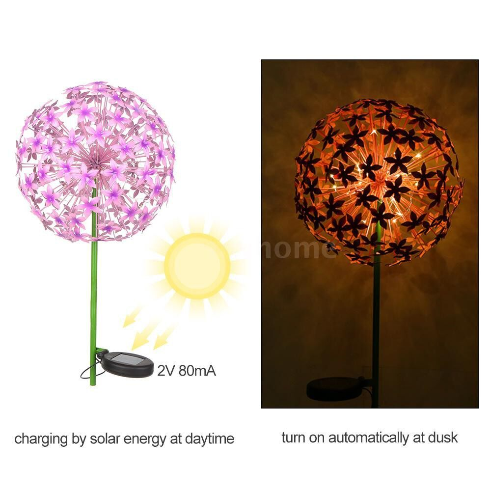 Outdoor Lighting - Solar Powered LEDs Garden Light Globe Stake Lawn Lamp IP55 Water-resistant Outdoor Light for - PURPLE / PINK
