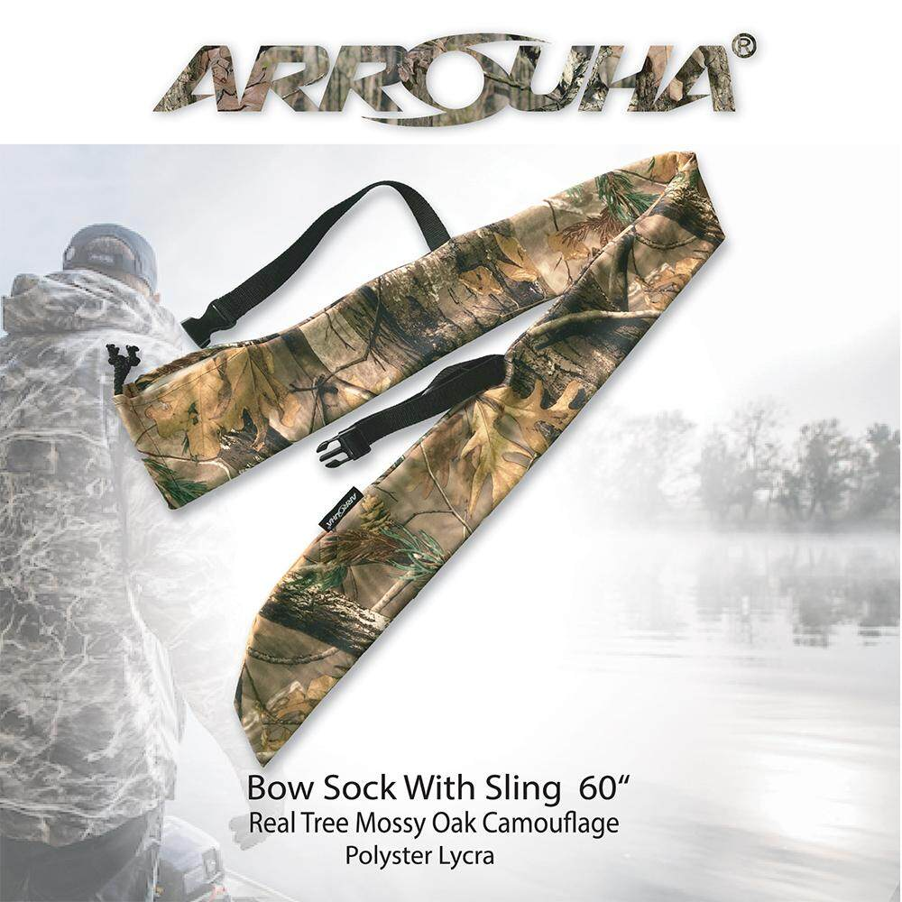 Arrouha Real Tree Mossy Oak Camouflage Bow Sock With Sling 60  Length for Traditional Bow