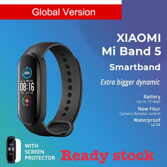 READY STOCK Xiaomi MiBand 5 Global Version Smart Bracelet  Color AMOLED Screen Miband 5 Smartband Fitness Tracker Bluetooth Sport Waterproof Smart Band miband 5 black global version free screen protector