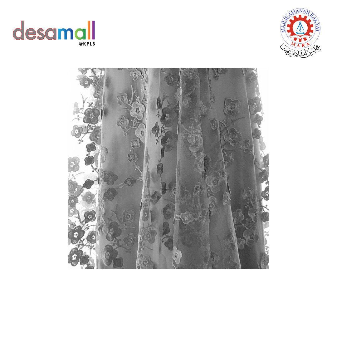 SHIMOFA Emroidered French Lace Sakura Flower Motive (F002)-Silver Grey