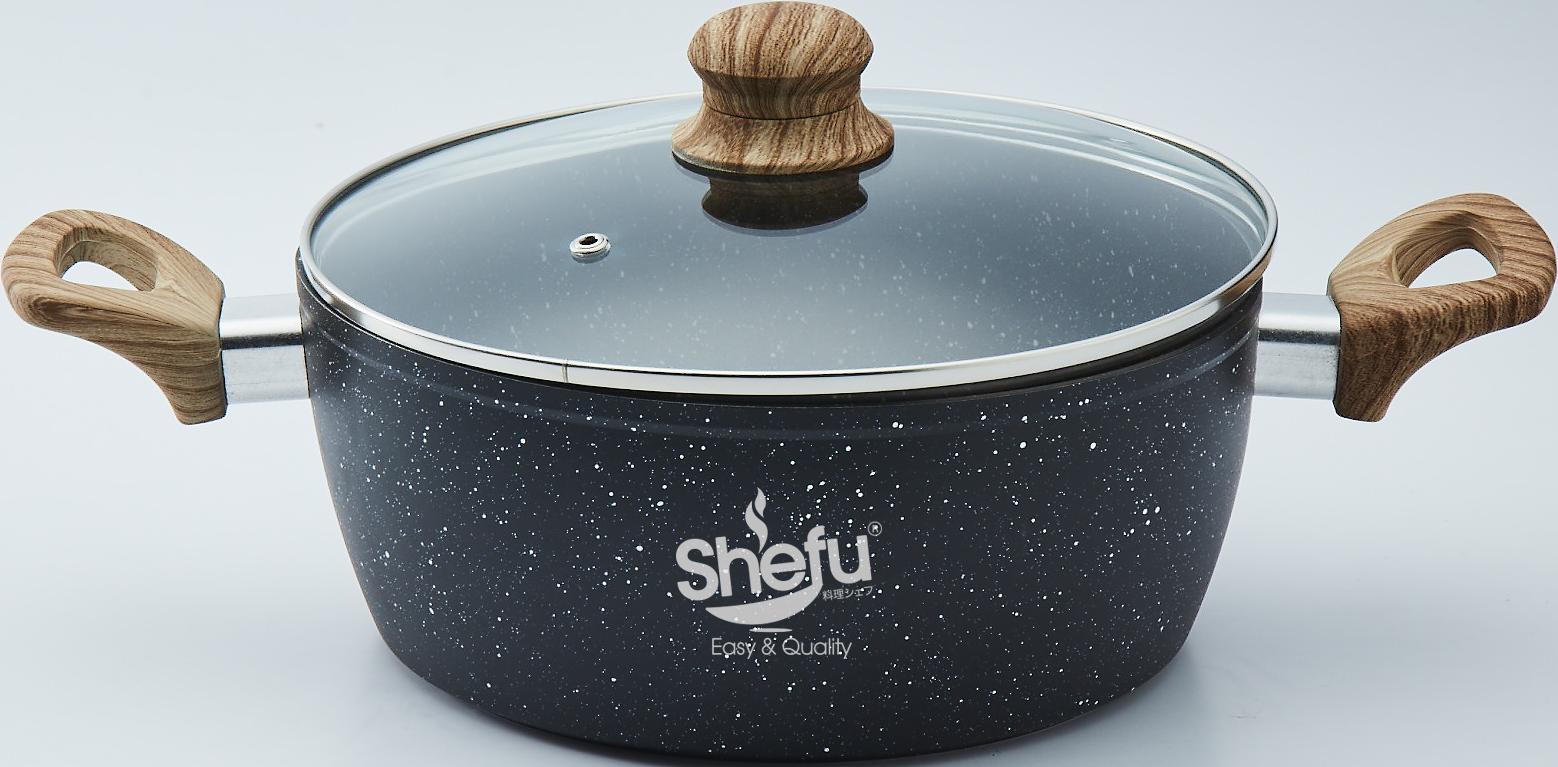 Shefu 24cm Non-stick Aluminium Casserole Pot with Tempered Glass Lid Double Handle Marble Stone Wok