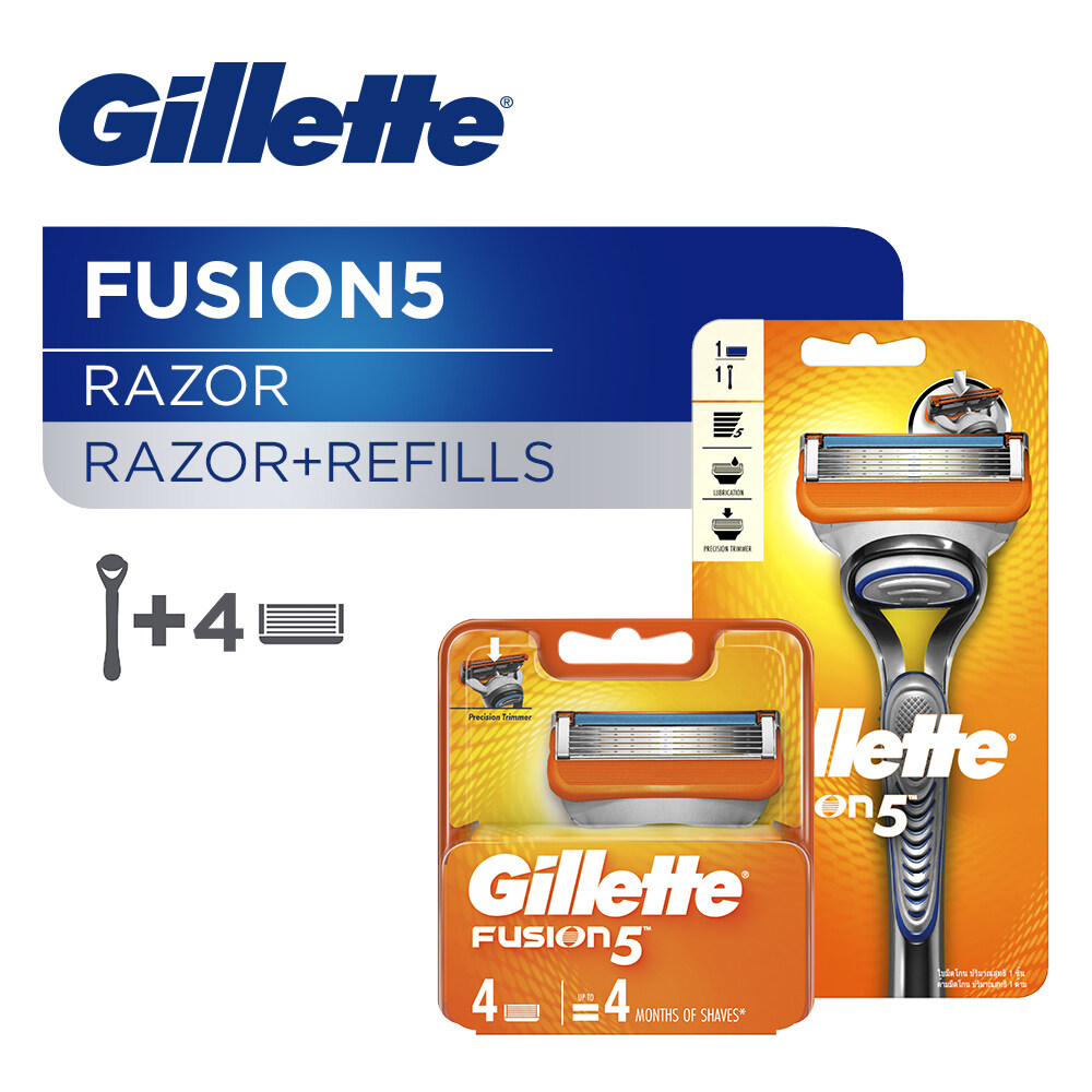 Gillette Fusion5 Razor 1 Handle + 1 Blade with EXTRA 4 Blades