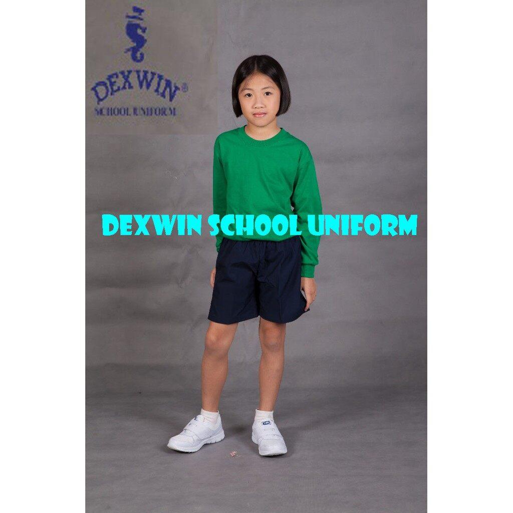 t-shirt hijau leher bulat tangan panjang kain cotton