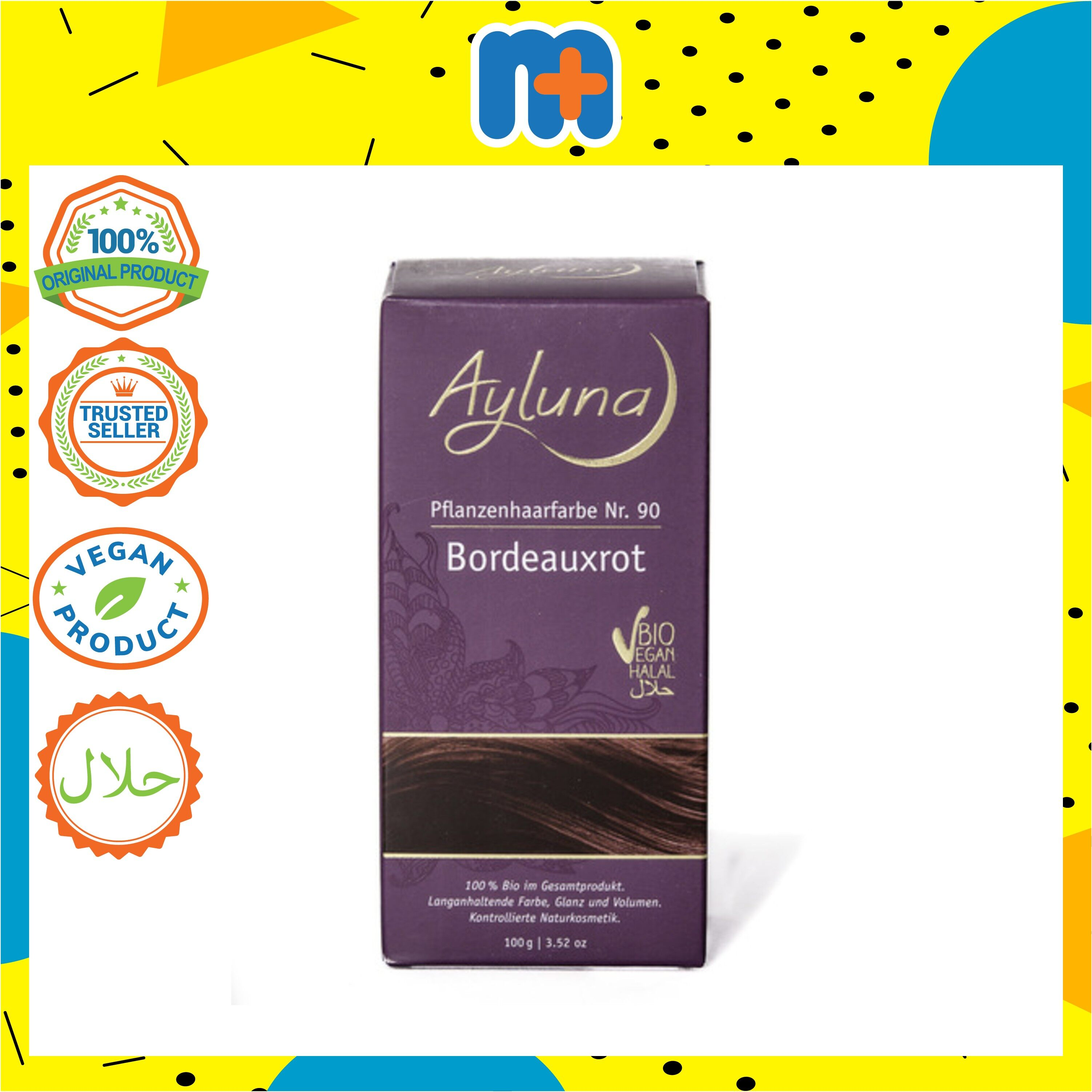 [MPLUS] AYLUNA Organic Plant Based Hair-Dye Bordeaux Red 100g