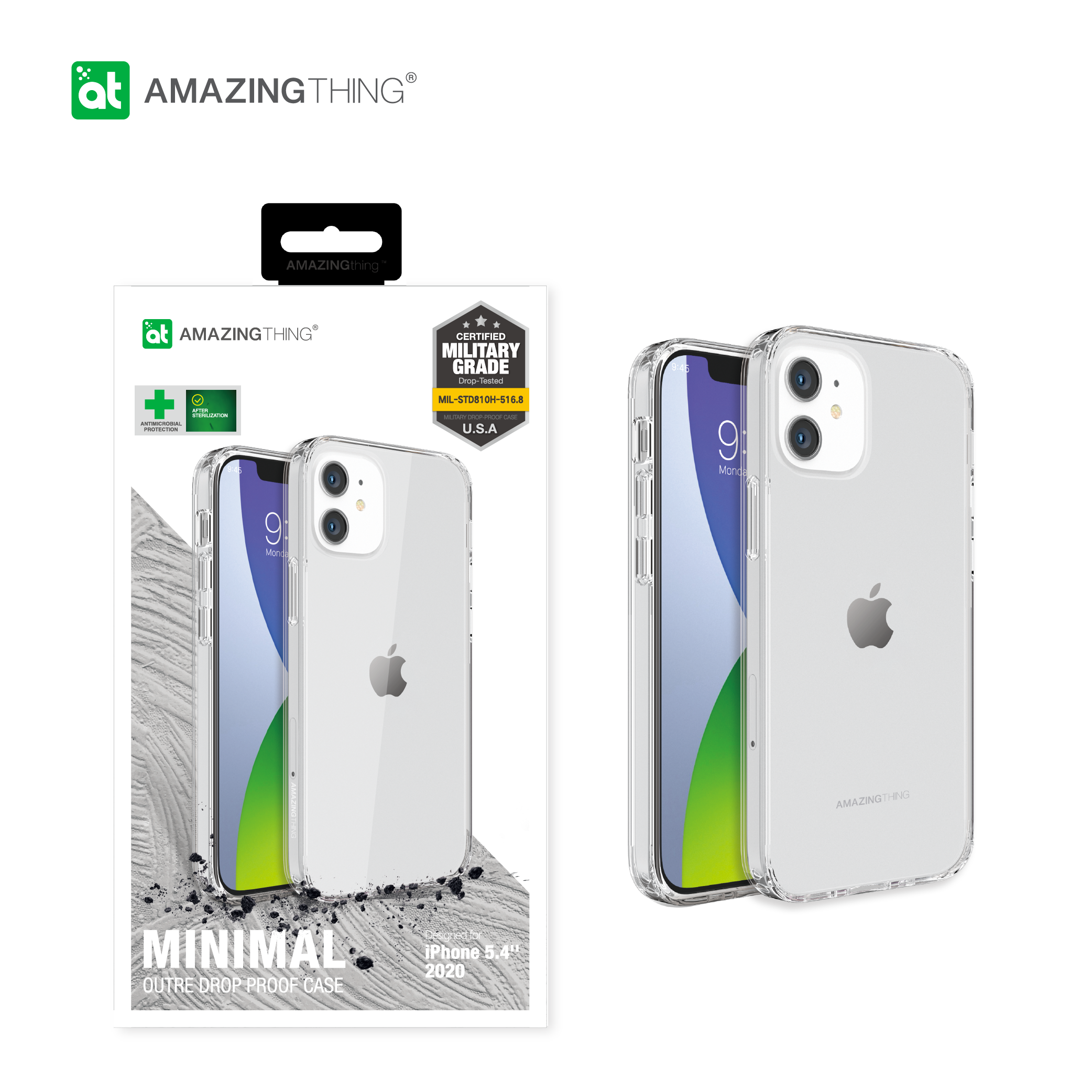 AMAZINGthing CASE Apple iPhone 12/ 12mini/ 12 Pro (2020) Anti-microbial Minimal Outre Drop proof