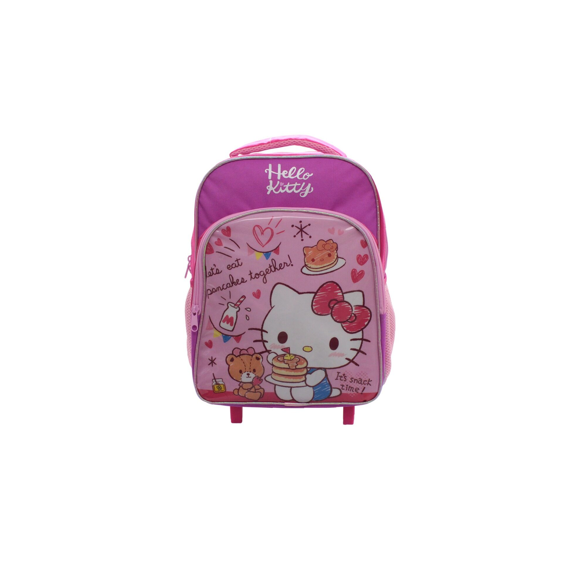 Sanrio Hello Kitty Its Snack Time Kids Girls Pre School Trolley Bag With 2 Wheels & Handle (Pink)