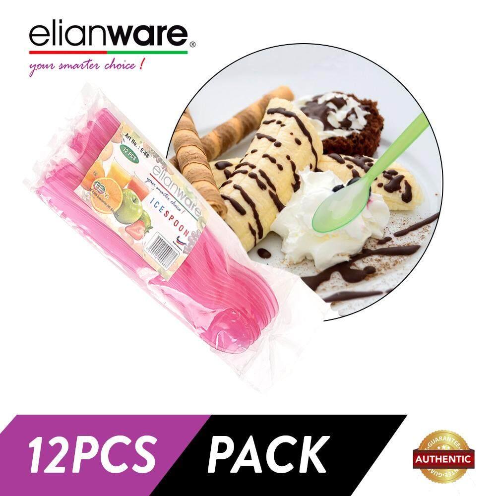 Elianware 12 Pcs Pack [BPA FREE] Ice Beverage Plastik Spoon Set