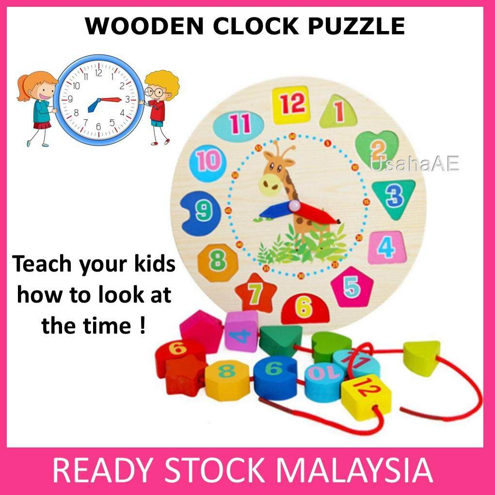 Wooden Clock Puzzle Kid Early Educational Toys Baby Learning Toy baby toys