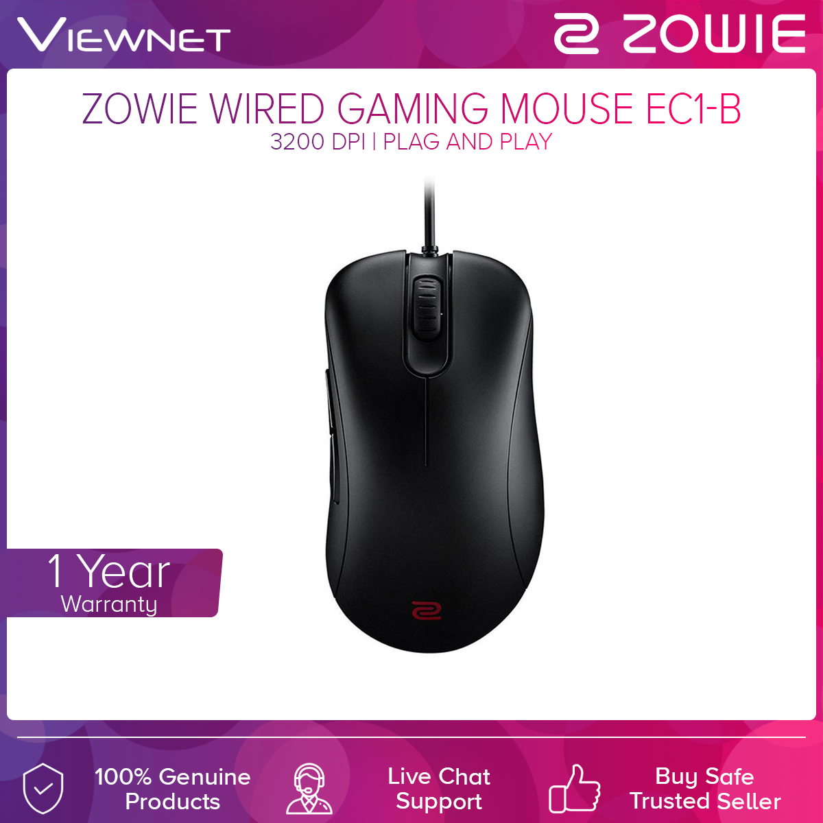 Zowie EC1-B Wired Gaming Mouse for Esports (Black/CS-GO Edition)
