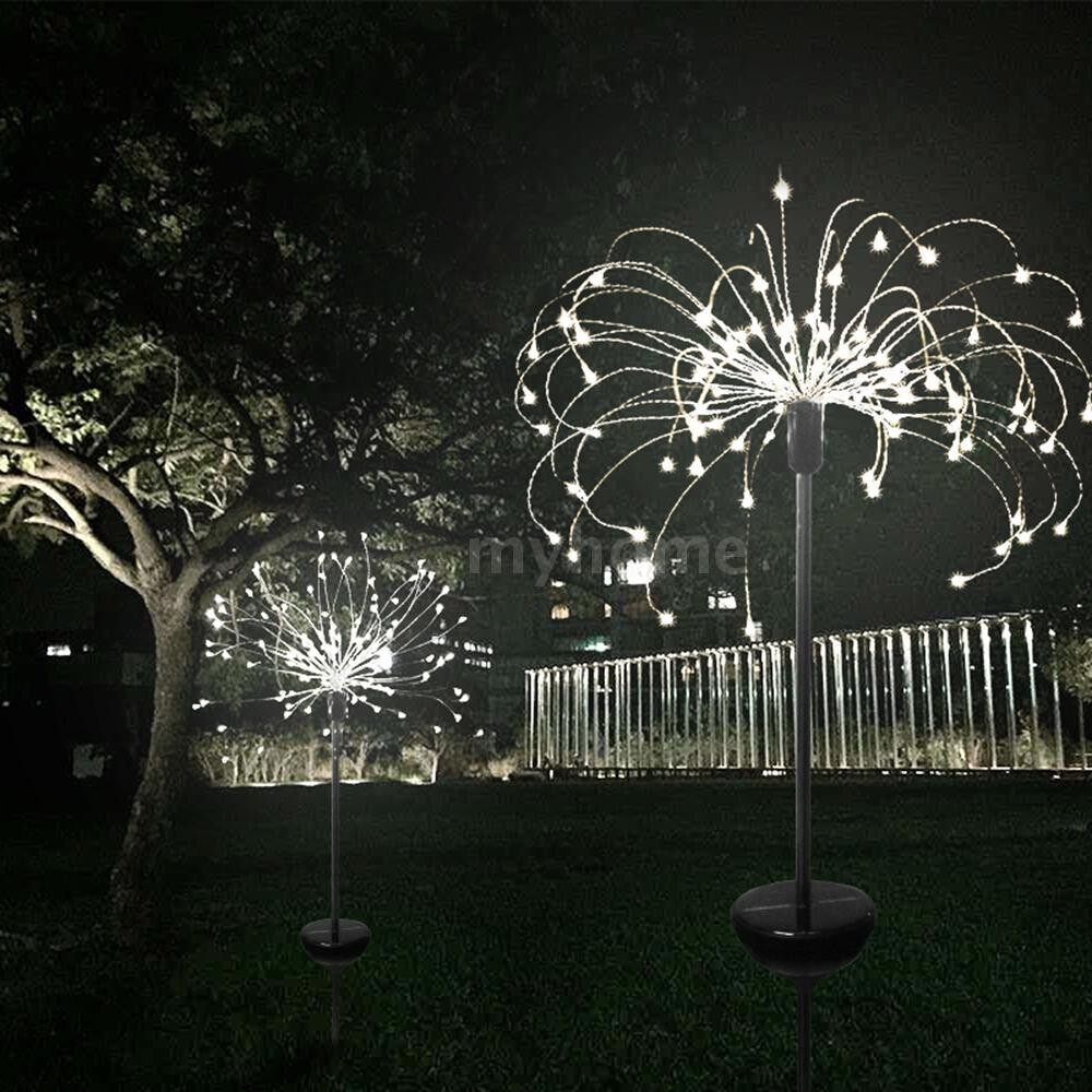 Outdoor Lighting - 2 PIECE(s) Solar Powered 90LED Lights Copper Wire Starburst Fireworks Fairy String Garden Landscape Light - WHITE-90 LEDS / WARM WHITE-90 LEDS / MULTICOLOR-90 LEDS / MULTICOLOR-150 LEDS / WARM WHITE-150 LEDS / WHITE-150 LEDS
