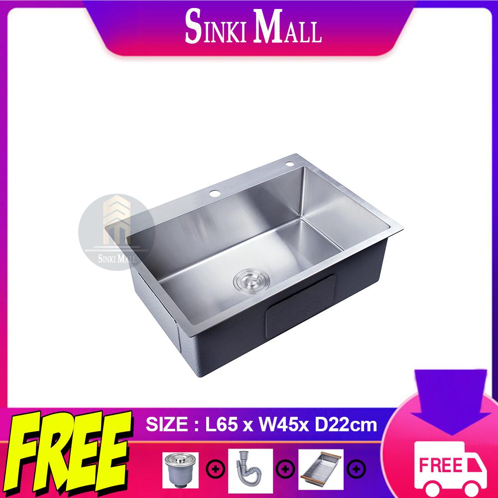 Handmade 65x45 SUS 304 Stainless Steel Kitchen Single Sink Basin Counter Topmount Undermount Single Bowl *FREE