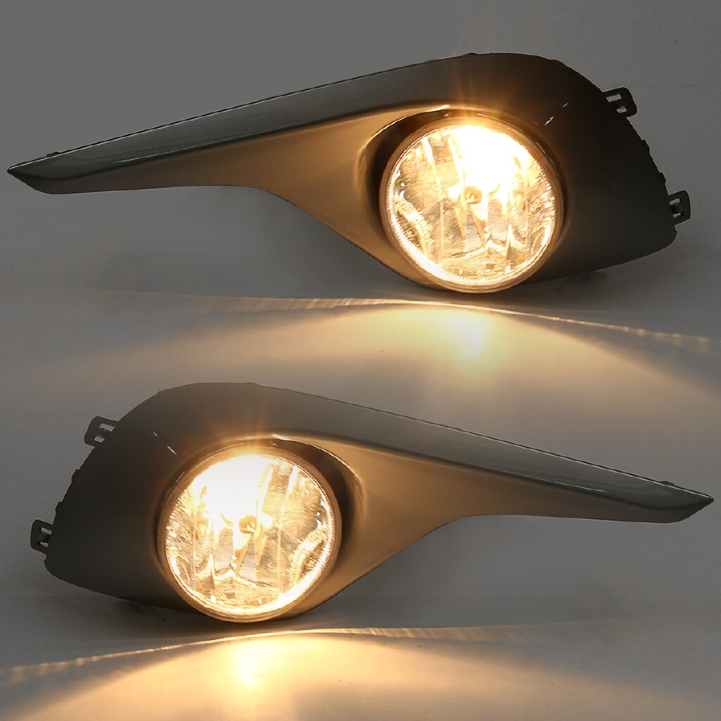 Car Lights - Pair Front Bumper Fog Light Lamp with Cover Kit For Toyota Highlander 2011-2013 - Replacement Parts