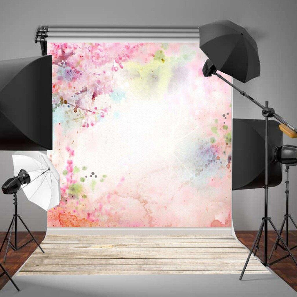 Lighting and Studio Equipment - 5x7FT Pink Watercolour Backdrop Studio Vinyl Photography Photo Props BackgroDB - Camera Accessories