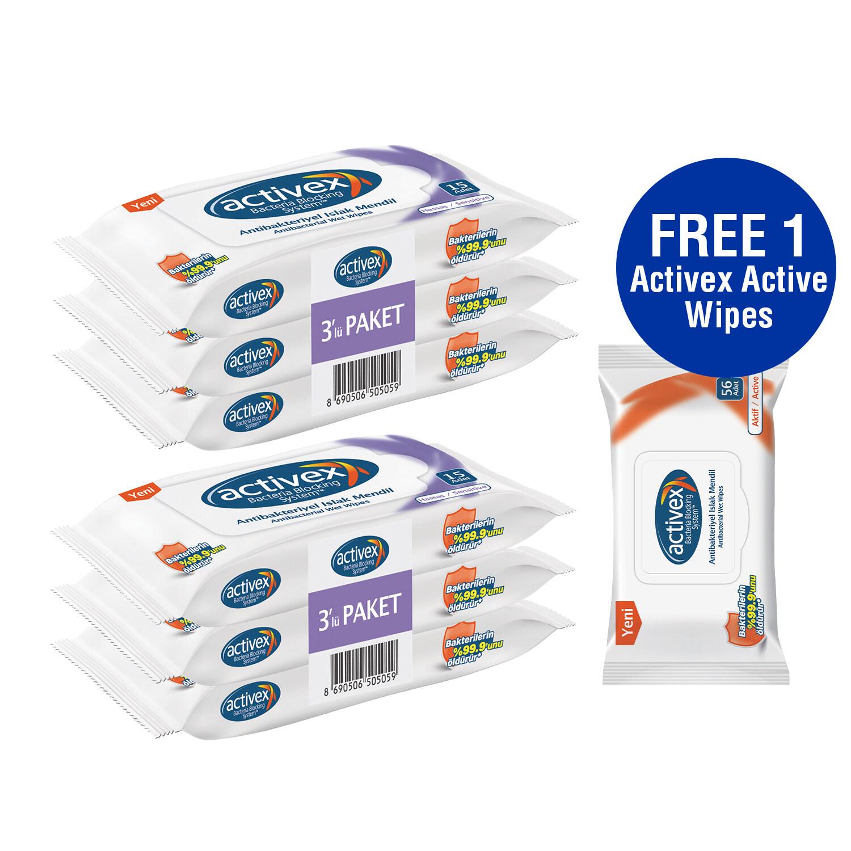Activex Antibacterial Sensitive Wipes 15's x 6 FREE Activex Antibacterial Wipes 56's x 1