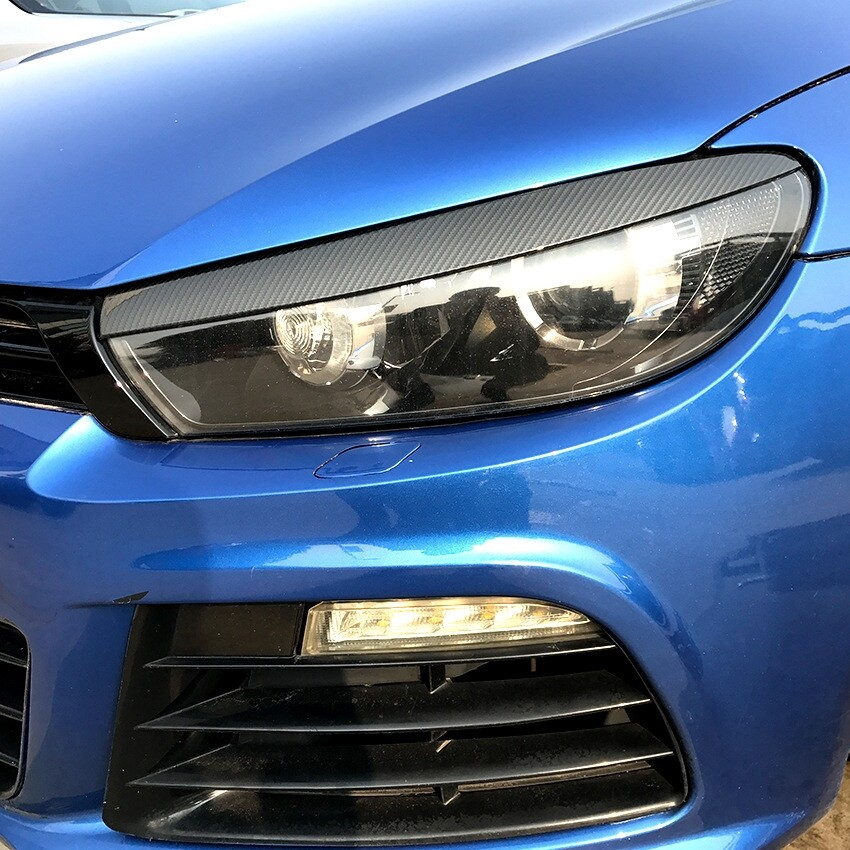 Car Lights - Carbon Fiber Front Headlight Eyelid Eyebrow Trims For VW Scirocco GTS 2008-2017 kwotop2014 - Replacement Parts
