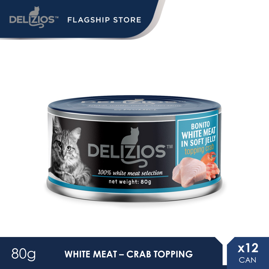 Delizios 80G Bonito White Meat in Soft Jelly Topping CRAB Wet Cat Food X 12 Cans