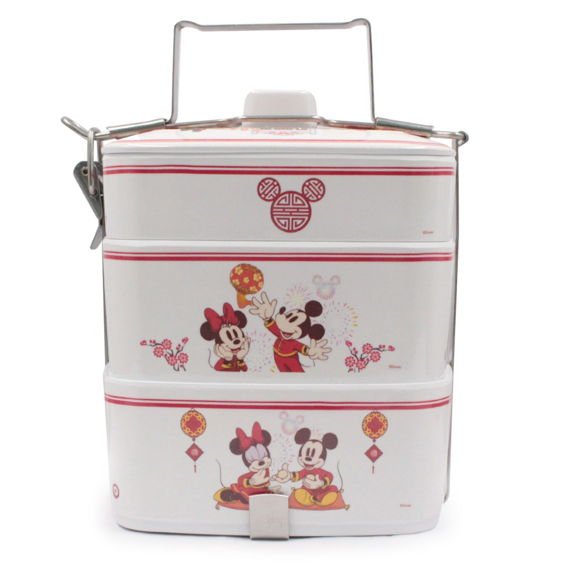 Disney Mickey & Minnie 3 Tier Food Tiffin with Compartments (Melamine)