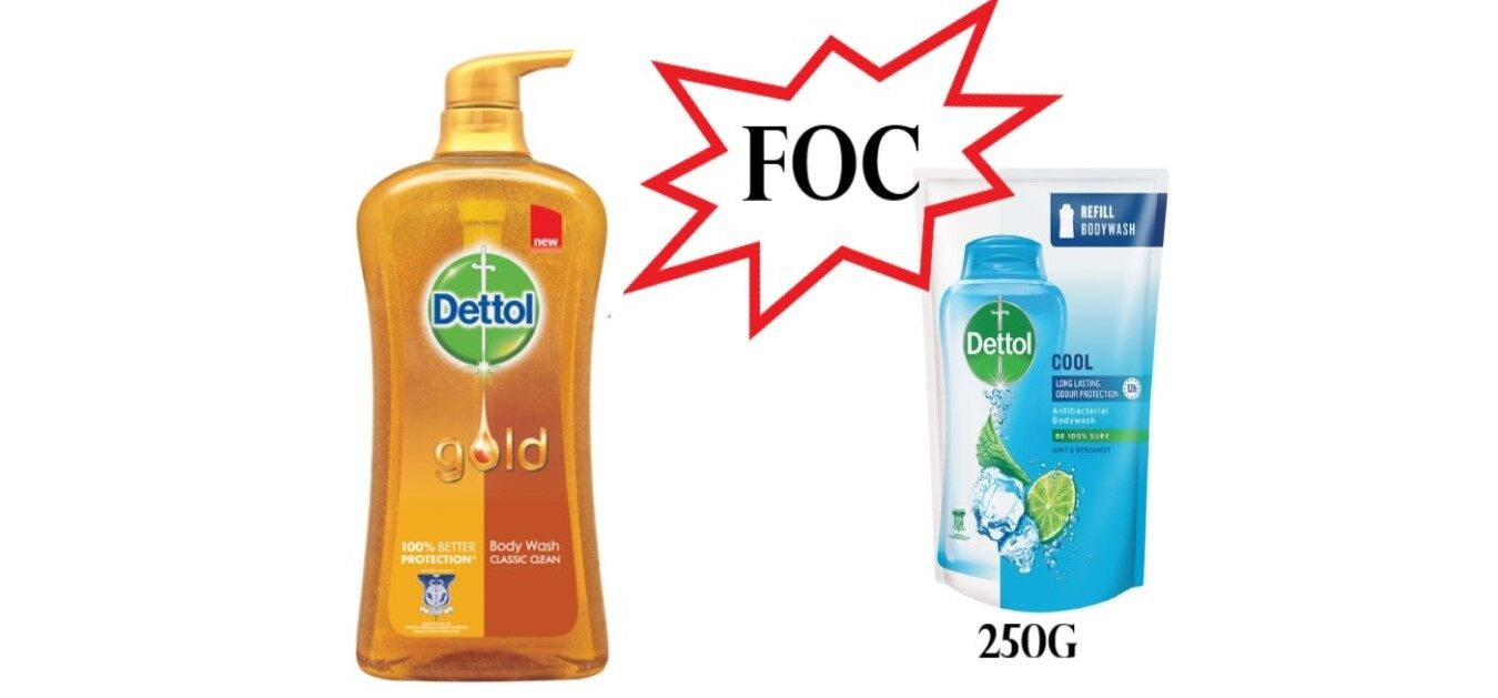 DETTOL Gold Double Protection Body Wash 950g - Classic Clean FOC Dettol Body Wash Refill Pack 250ml (Cool)