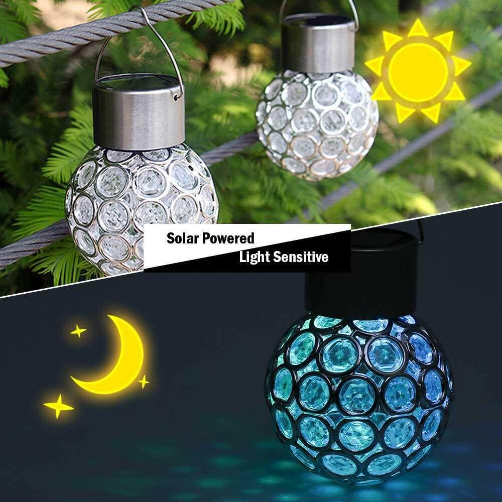Solar Powered Rechargeable Hollow-out Spherical LED Outdoor Lamp