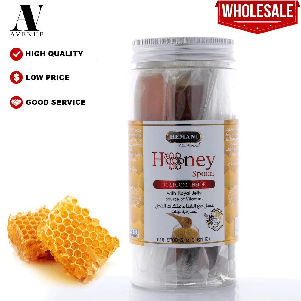 Hemani Honey Spoon Royal Jelly 10 x 9g per Jar Source of vitamins - Jeli Royal Sendok Madu عسل مع الغذاء ملكات النحل