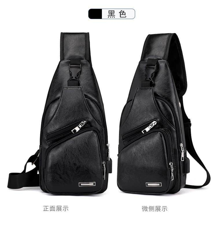 [M'sia Warehouse Direct] 2020 Korean Series Men's Leather Chest Bag Luxury Cross body Bag Portable Bag Pack Multipurpose Shoulder Sling Pouch Travel Bag With Earphone Hole Can Fit Iphone Any Android Mobile Perfect Gift For Love One Bag Kulit Halal