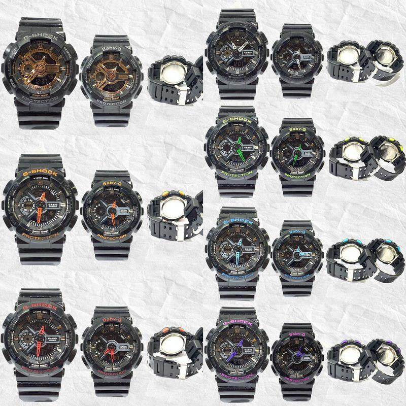 {Advance Quality} Fashion_Casio_G_Shock_Couple GA-110 & BGA-110 Dual Time Display Set For Men & Women With Own Heart Gift Box Mineral Glass New Sport Casual Follow Us For More