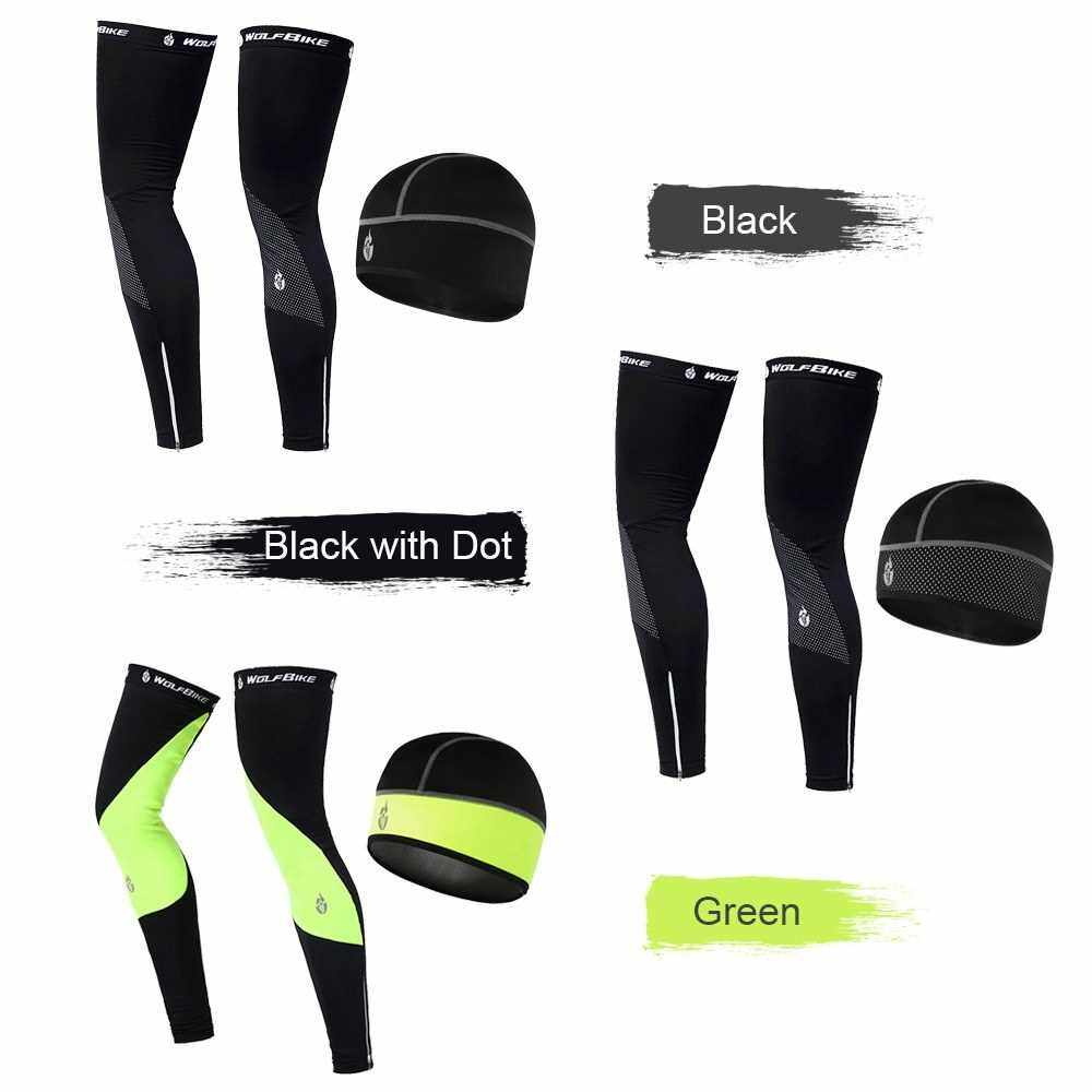 Windproof Warm Cycling Cap and Leg Warmers Set Outdoor Sports Running Warm Hat Leg Sleeves Leggings for Men Women (B1xl)