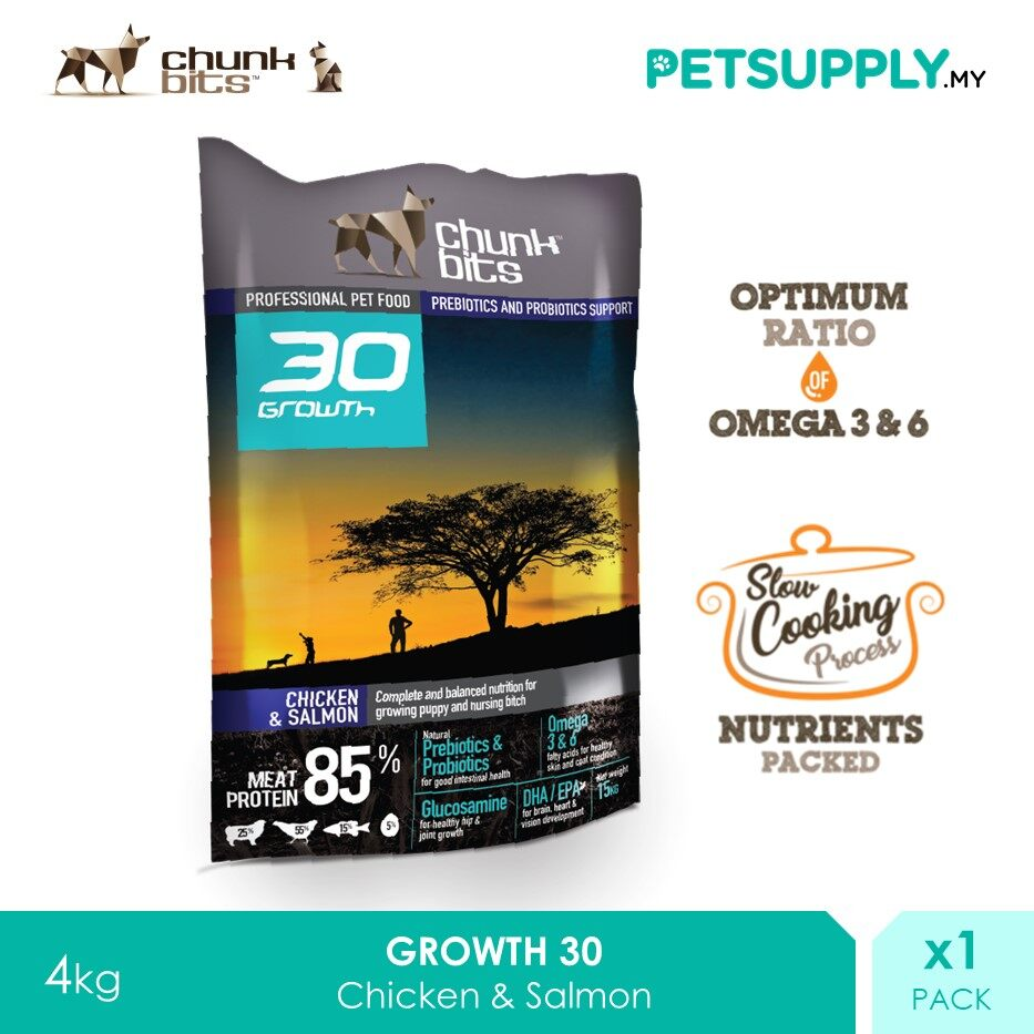 Chunk Bits 4Kg Growth 30 Chicken And Salmon Dog Dry Food [PETSUPPLY.MY]