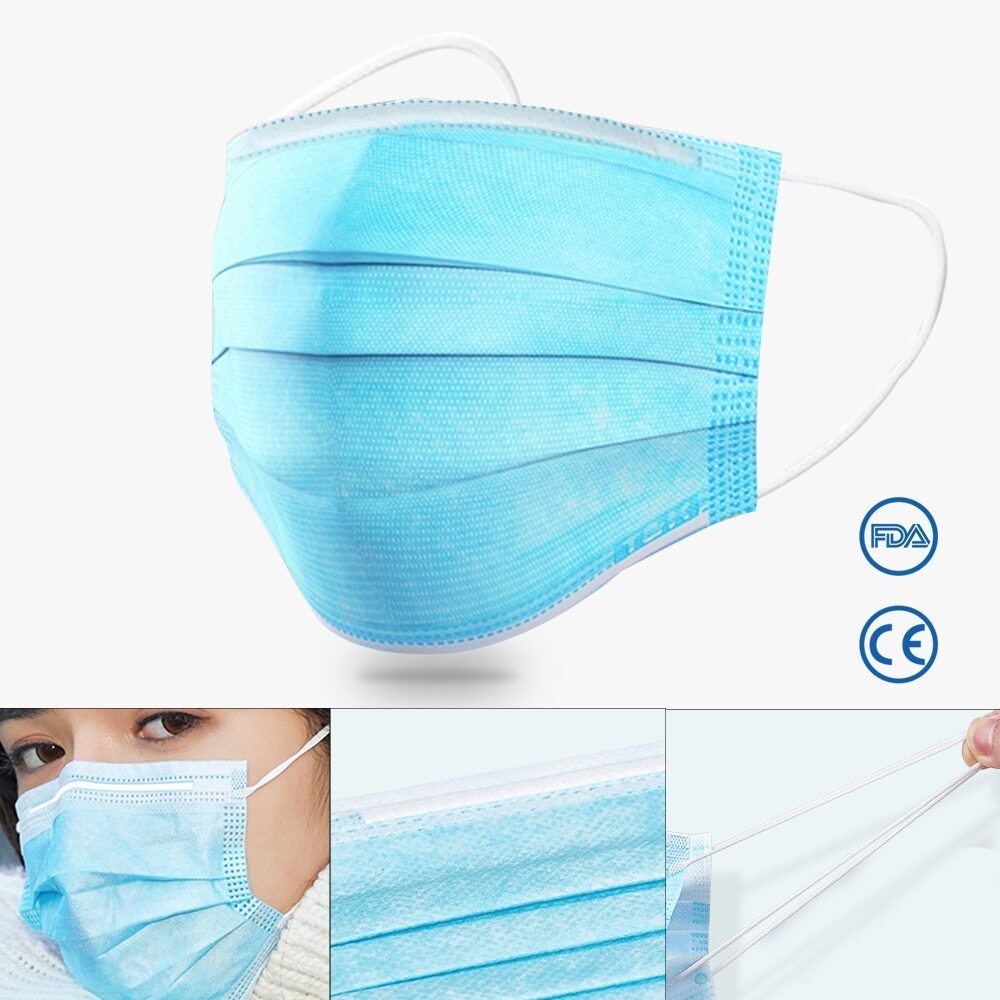 YCH Sunjoy 50pcs 3 Ply Disposable Face Mask with Elastic Earloop Dustproof Anti-virus Protective Cover 3 Layer Masks Facemask for Adult