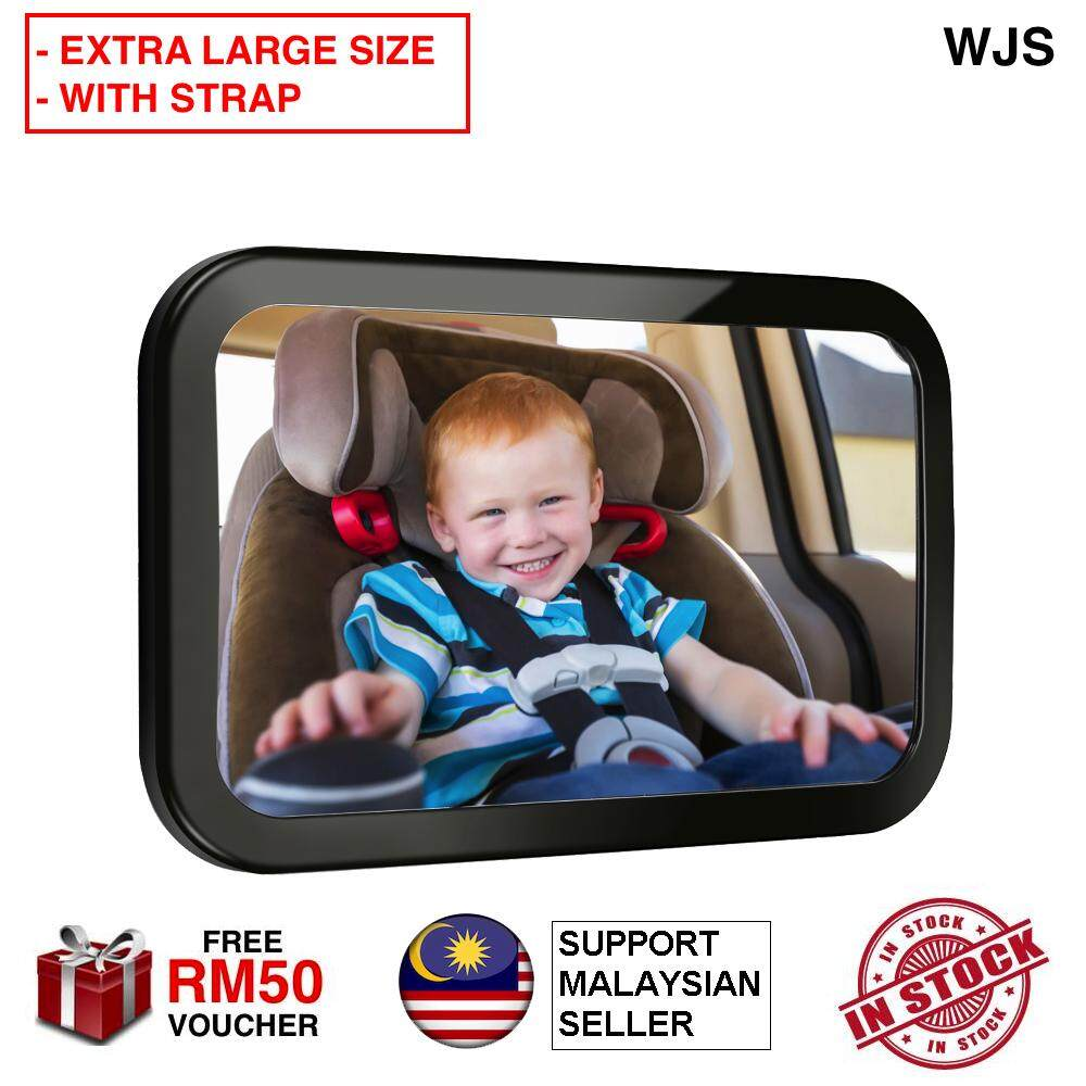 (EXTRA LARGE SIZE WITH STRAP) WJS Adjustable Baby Car Back Mirror Seat & Child Safety Parent View Travel Mirror Rear Facing Mirror Car Seat Mirror BLACK [FREE RM 50 VOUCHER]
