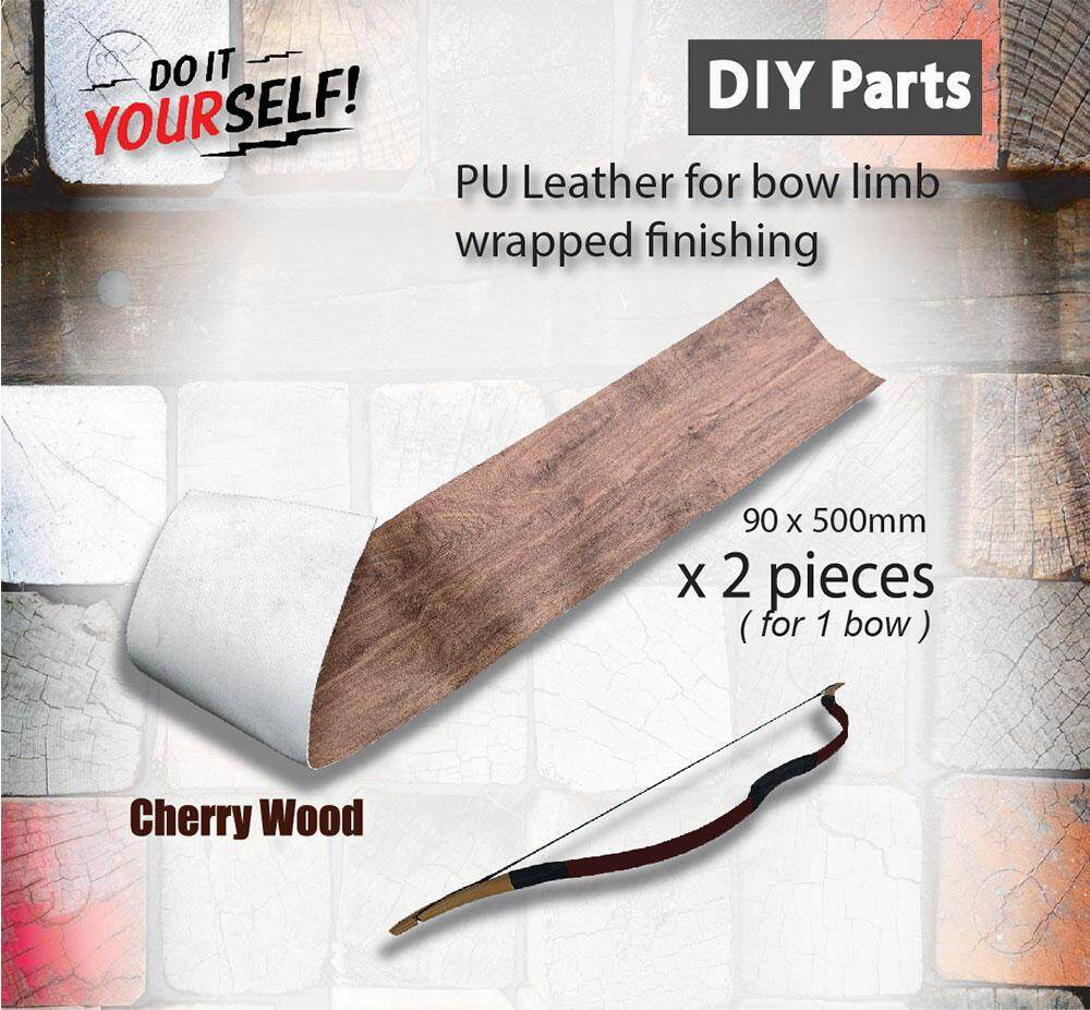 DIY Parts - Decorated Cherry Wood PU Leather For Traditional Bow Making Bow Limb Finishes Arrouha
