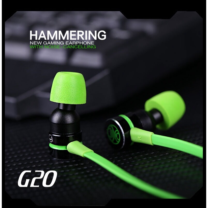 G20 In-ear Earphone With Mic Wired Magnetic Gaming Head SET Stereo Bass Earbuds - GREEN / RED / BLACK