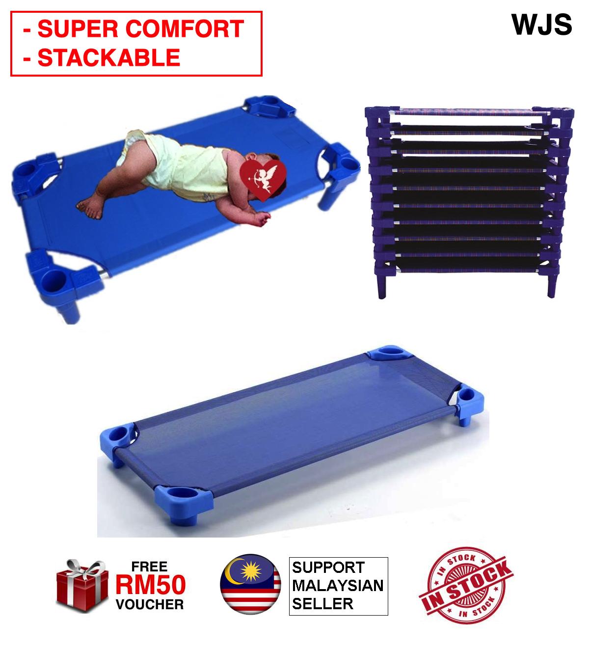 (ENHANCED STEEL) WJS XL Safety First Portable Kids Bed Canvas Bed Stackable Kindergarden Nursery Tadika Bed Cot Mattress Portable Katil Kanak-Kanak BLUE CHEQUERED [FREE RM 50 VOUCHER]