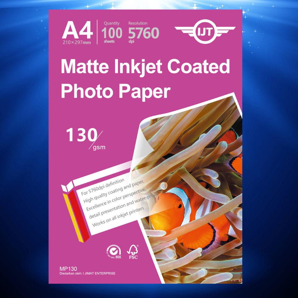 Matte Inkjet Coated Paper A4 Size 110g 110gsm / 130g 130gsm (Each Pack 100 Sheets)