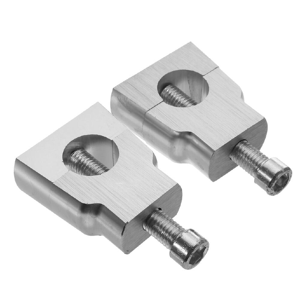 Moto Accessories - 1 Pair Universal 7/8 22mm Motorcycle CNC Handlebar Riser Clamp Taper - SILVER / BLACK
