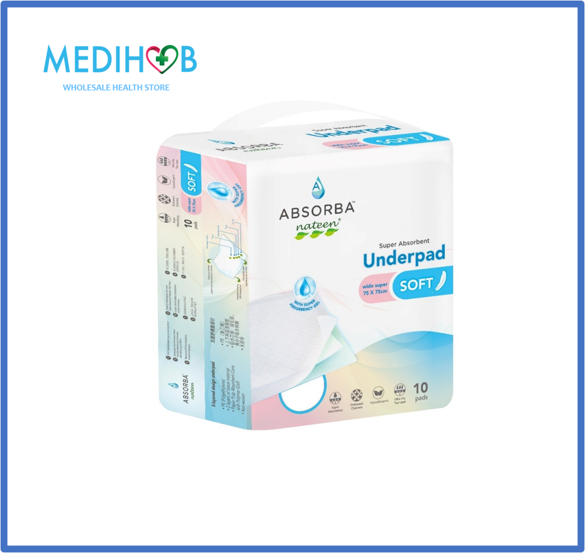 Absorba Nateen Soft Underpad 75cm x 75cm (10pcs/pack) High Grade Quality