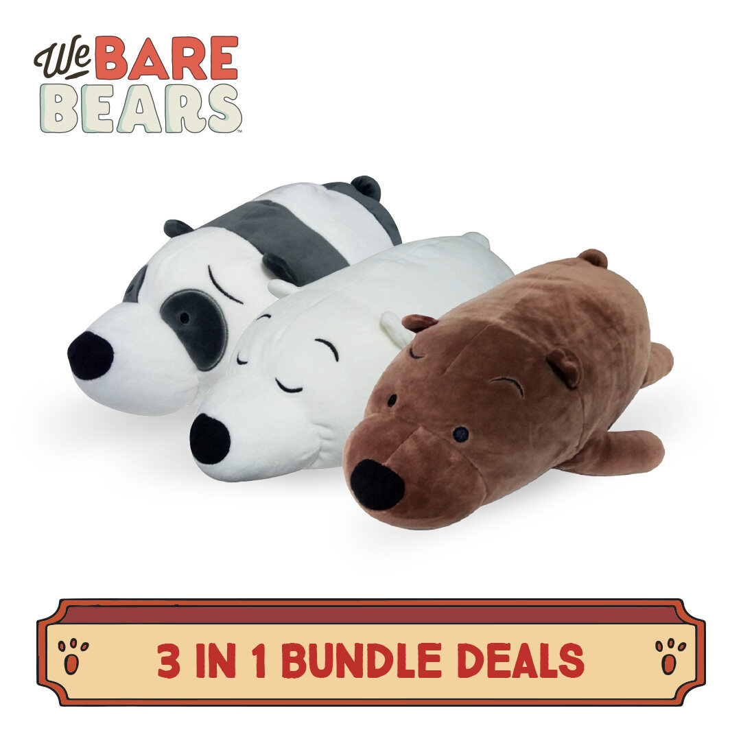 We Bare Bears 3 In 1 Lie Down 14 Inches Cushion Value Bundle Set