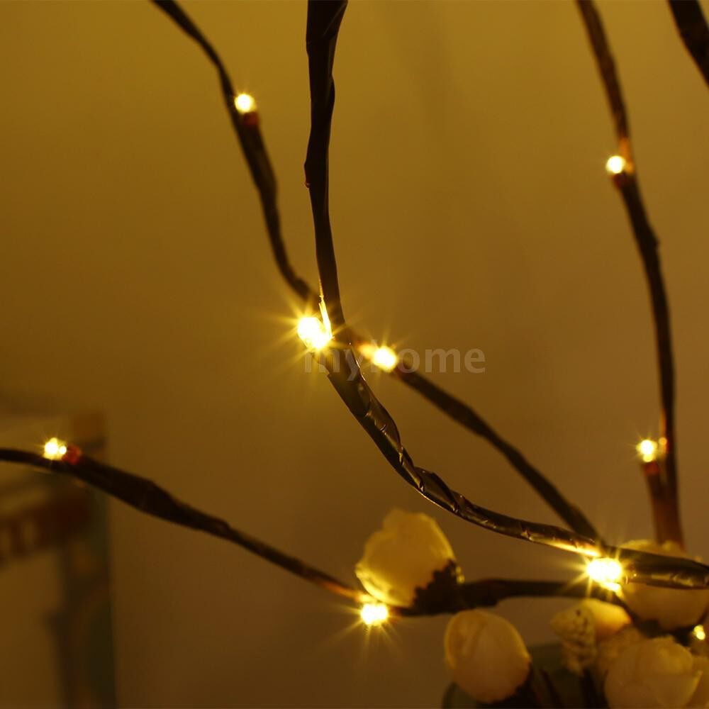 Lighting - 20 LED Light Twig Willow Branches Design Battery Powered Operated Flexible Bendable IP44 Water - 6 PACK / 4 PACK / 2 PACK