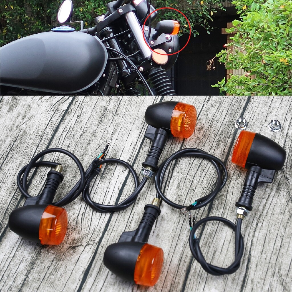 Moto Spare Parts - 4x Universal Motorcycle Indicator Turn Signal Light Bulbs Cafe Racer Bobber E9 - Motorcycles, & Accessories