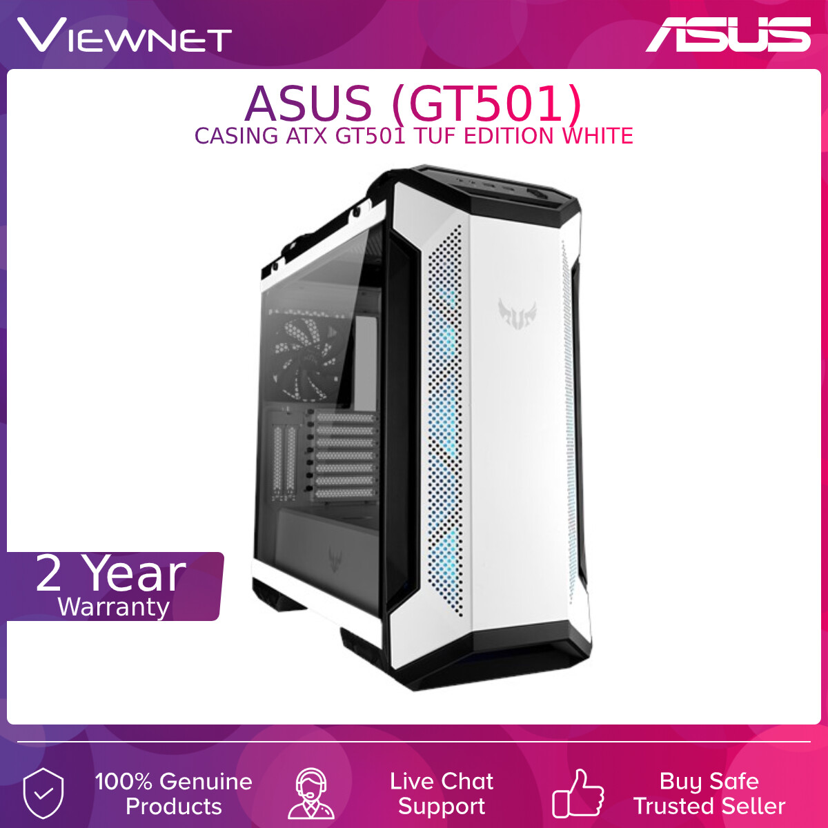 ASUS CASING ATX GT501 TUF EDITION WHITE