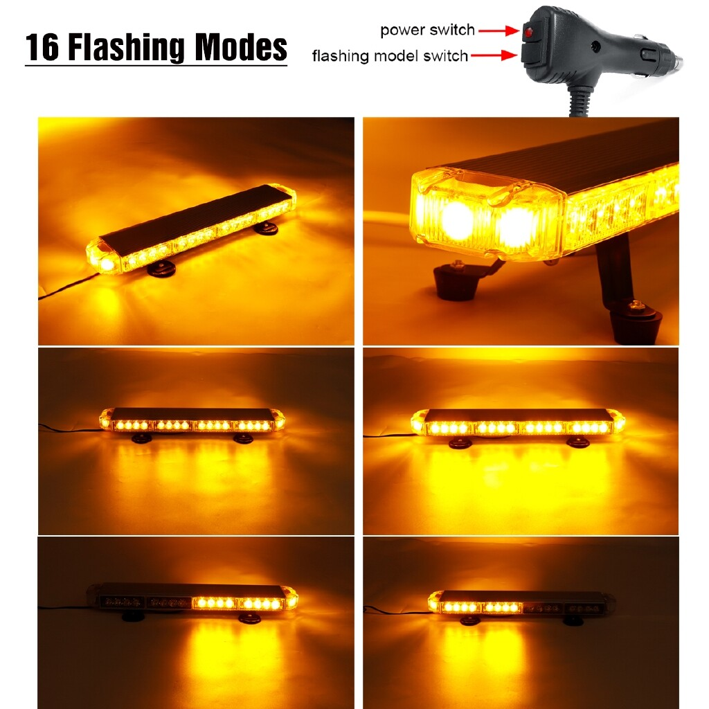 Car Lights - 22 Inch 114W 38LEDs Car Truck Roof Strobe Flashing Beacon Light Bar Amber 12/24V - Replacement Parts